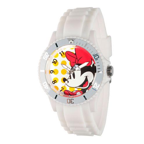 Disney® Womens Minnie Mouse White Dots Strap Watch