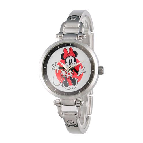 Disney® Womens Minnie Mouse Silver Tone Bridle Bracelet Watch