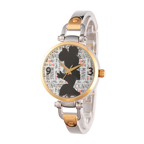 Disney® Womens Minnie Mouse Two Tone Silhouette Bridle Bracelet Watch