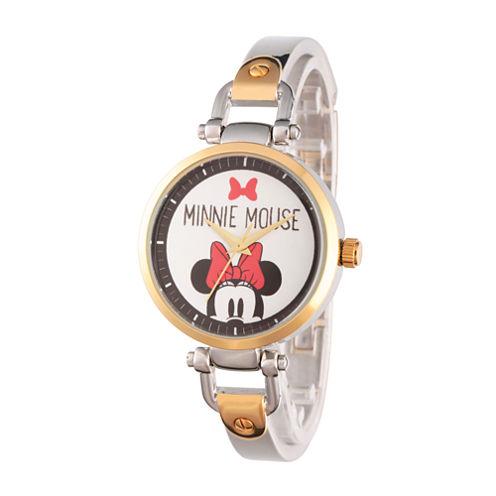 Disney® Womens Minnie Mouse Two Tone Bow Bridle Bracelet Watch