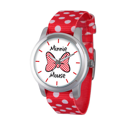 Disney® Womens Minnie Mouse Red Polka Dot And BowStrap Watch
