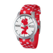 Disney® Womens Minnie Mouse Red Polka Dot Silhouette Strap Watch