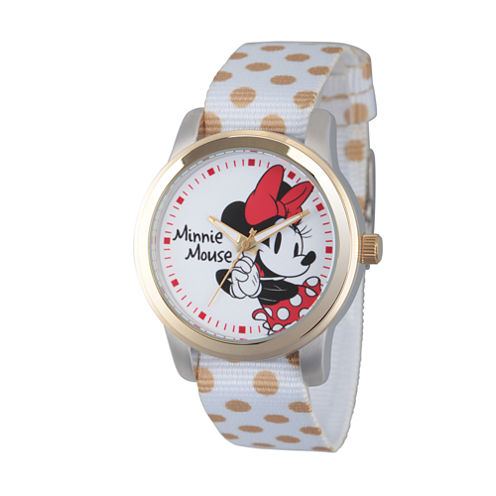 Disney® Womens Minnie Mouse White And Gold PolkaDot Strap Watch