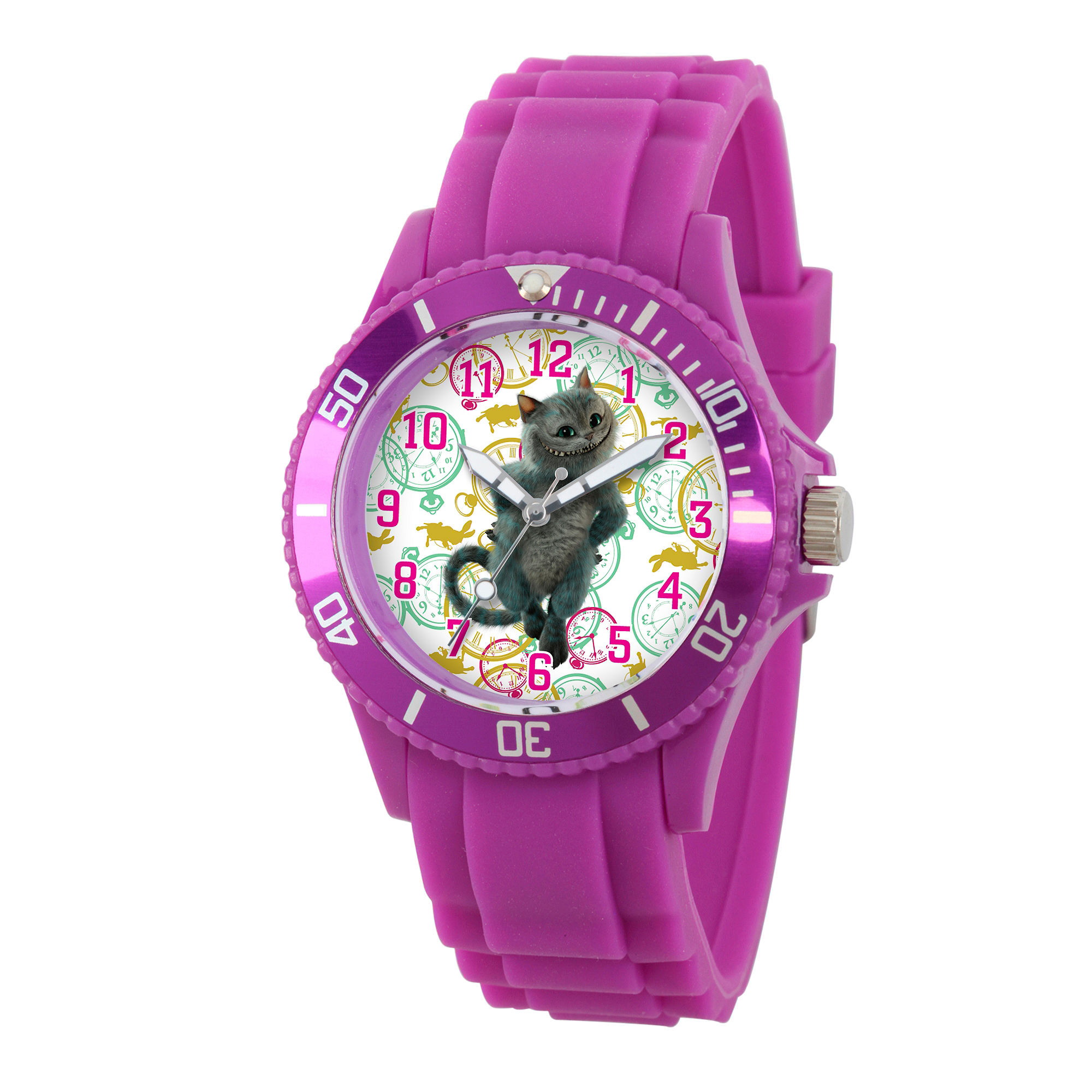 Disney Womens Alice In Wonderland Purple Cheshire Cat Plastic Strap Watch