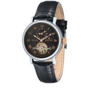 Thomas Earnshaw Men's Black Beaufort Leather Strap Watch