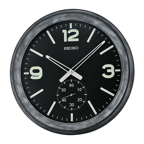 Seiko® Wall Clock With Second Hand Subdial BlackQxa627klh