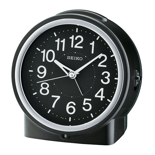 Seiko® Bedside Alarm With Dial Light And Beep Alarm With Snooze Black Clock Qhe117klh