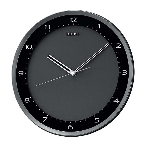 Seiko® Wall Clock With Black Metallic Case Qxa393jlh