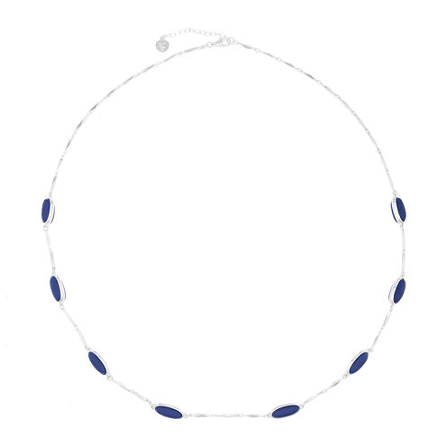 Liz Claiborne® Blue Acrylic Stone Silver-Tone Station Necklace