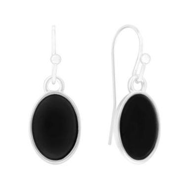 jcpenney.com | Liz Claiborne® Black Acrylic Stone Silver-Tone Oval Drop Earrings