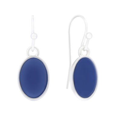 jcpenney.com | Liz Claiborne® Blue Acrylic Stone Silver-Tone Oval Drop Earrings