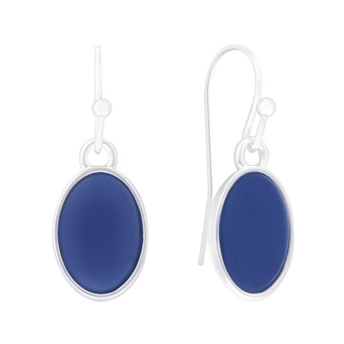 Liz Claiborne® Blue Acrylic Stone Silver-Tone Oval Drop Earrings