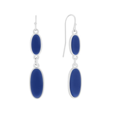 jcpenney.com | Liz Claiborne® Blue Acrylic Stone Silver-Tone Double Drop Earrings