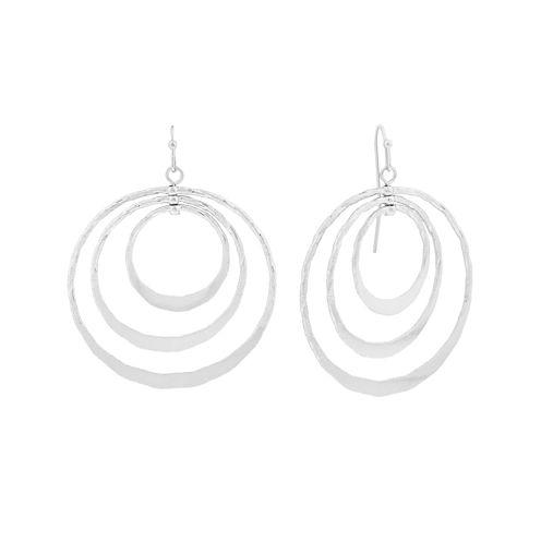 Liz Claiborne® Silver-Tone Triple Circle Drop Earrings