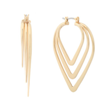 jcpenney.com | Liz Claiborne® Gold-Tone Triple Pointed Hoop Earrings