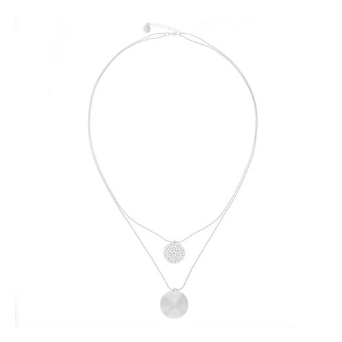 Liz Claiborne® Crystal & Silver-Tone Two-Row Long Pendant Necklace