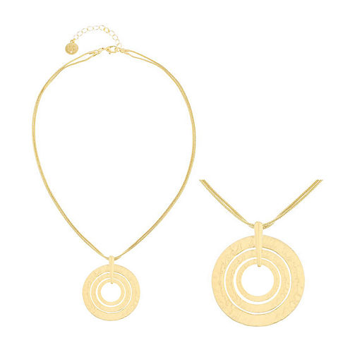 Liz Claiborne® Gold-Tone Two-Row Hammered Pendant Necklace