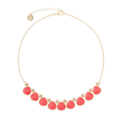 jcpenney.com | Liz Claiborne® Orange and Gold-Tone Frontal Collar Necklace