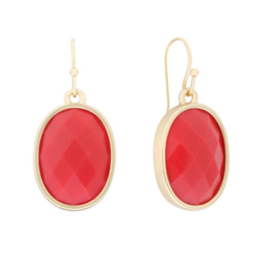 jcpenney.com | Liz Claiborne® Oval Drop On Wire Coral & Gold-Tone Earrings