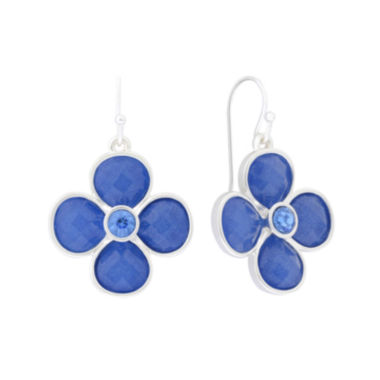 jcpenney.com | Liz Claiborne® Flower Drop Blue & Silver-Tone Earrings