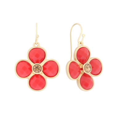 jcpenney.com | Liz Claiborne® Flower Drop Coral & Gold-Tone Earrings