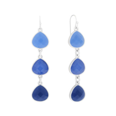 jcpenney.com | Liz Claiborne® Blue and Silver-Tone Linear Earrings