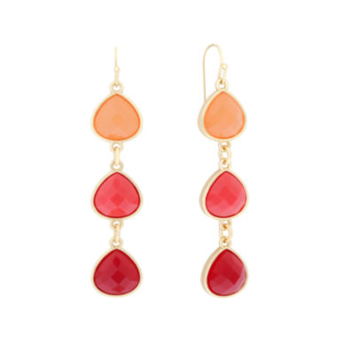 jcpenney.com | Liz Claiborne® Orange and Gold-Tone Linear Earrings