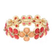Liz Claiborne® Orange Flower Gold-Tone Stretch Bracelet