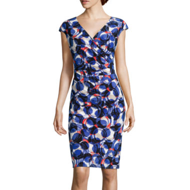 jcpenney.com | Black Label by Evan Picone Cap-Sleeve Circle Print Sheath Dress