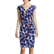 Black Label by Evan Picone Cap-Sleeve Circle Print Sheath Dress