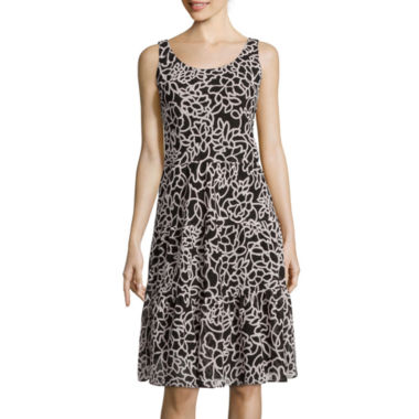 jcpenney.com | Black Label by Evan Picone Sleeveless Floral Tiered A-Line Dress