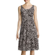 Black Label by Evan Picone Sleeveless Floral Tiered A-Line Dress