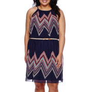 by&by Sleeveless Pleated Neck Belted Dress - Juniors Plus