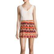City Triangles® Sleeveless Lace Top Printed Short Belted Romper