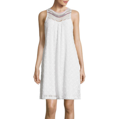 jcpenney.com | City Triangles® Sleeveless Stitch-Collar Crochet Lace A-Line Dress- Juniors