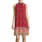 Speechless® Sleeveless Beaded Mockneck Print A-Line Dress