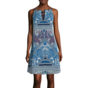 Speechless® Sleeveless Tie-Front Print A-Line Dress