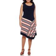 MSK Sleeveless Striped Asymmetrical-Hem Fit-and-Flare Dress - Plus