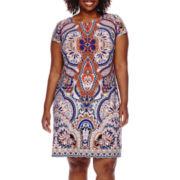 R&K Originals® Cap-Sleeve Shift Dress - Plus