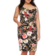 Bisou Bisou® Sleeveless Floral Illusion Sheath Dress - Plus