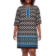 Studio 1® 3/4-Sleeve Keyhole Printed Sheath Dress - Plus