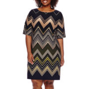 Studio 1® Elbow-Sleeve Chevron Shift Dress - Plus