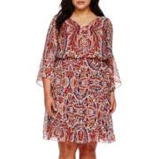 Sangria 3/4-Sleeve Peasant Blouson Dress - Plus