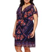 Sangria Short-Sleeve Printed Blouson Dress - Plus