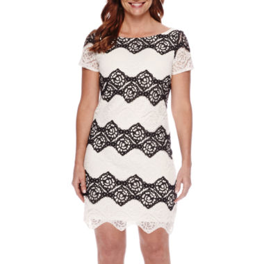 jcpenney.com | London Style Collection Short-Sleeve Lace Sheath Dress - Petite