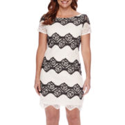 London Style Collection Short-Sleeve Colorblock Lace Sheath Dress