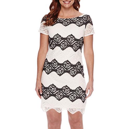 London Style Collection Short-Sleeve Lace Sheath Dress - Petite