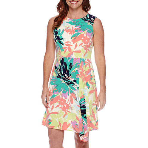 London Style Collection Sleeveless Floral Fit and Flare Dress - Petite