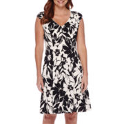 London Style Collection Cap-Sleeve Seamed Floral Fit-and-Flare Dress