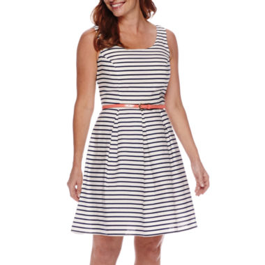 jcpenney.com | Tiana B. Sleeveless Striped Fit and Flare Dress - Petite